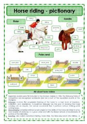 English Worksheet: Horse riding -pictionary
