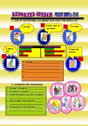 English Worksheets: reported speech PRESENT SIMPLE & TO BE