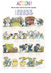 English Worksheets: Action verbs 1