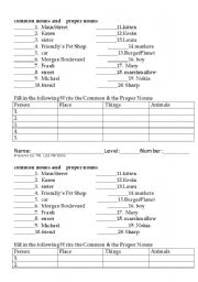 English Worksheets: Common Nouns and Proper Nouns