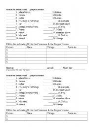 English Worksheet: Common Nouns and Proper Nouns