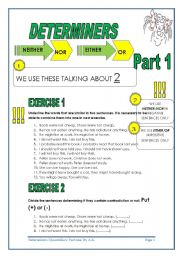 English Worksheets: 4 PAGES -NEITHER/NOR/EITHER/OR - KEY INCLUDED
