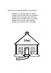 English worksheet: back 2 school - colour