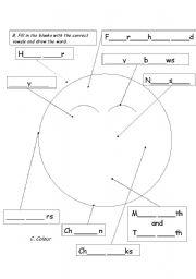English worksheet: body parts - face