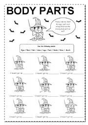 English Worksheet: Body Parts with Harry Potter