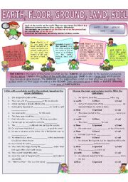 English Worksheet: COLLOCATION 74 - EARTH, FLOOR, GROUND, LAND, SOIL