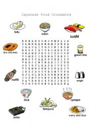 english worksheets japanese food word search. Black Bedroom Furniture Sets. Home Design Ideas