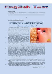 English Worksheet: TEST - ETHICS IN ADVERTISING (HOW FAR WOULD YOU GO?)