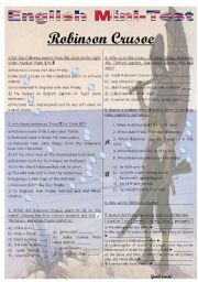 English Worksheet: MINI-TEST - ROBINSON CRUSOE