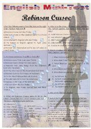 English Worksheet: MINI-TEST - ROBINSON CRUSOE
