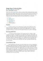 English Worksheets: Rope Magic Trick
