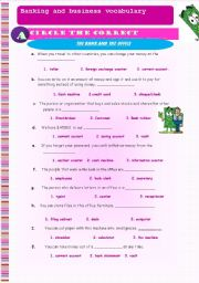 English Worksheets: Banking and business vocabulary. 4 pages + Key included (Editable)