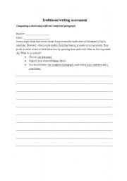 English Worksheets: Writing--choose your opinion