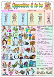 English Worksheets: Opposites & to be - grammar + vocabulary + exercises (fully editable)