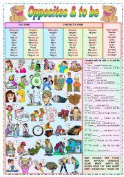 English Worksheet: Opposites & to be - grammar + vocabulary + exercises (fully editable)