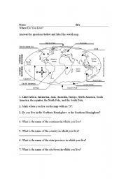 English Worksheet: The World Map, Name Of Countries, Continents