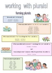 English Worksheets: WORKING WITH PLURALS
