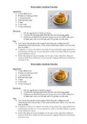 English Worksheet: Home-made American Pancakes Recipe