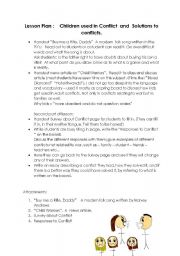English worksheet: Children used in Conflict  and  Solutions to conflicts.