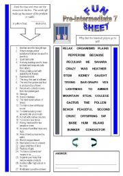 English Worksheets: Fun Sheet Pre-Intermediate 7