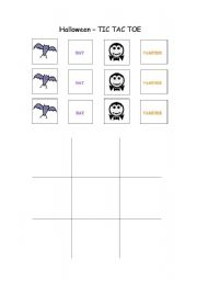 English worksheet: Four different pictures to play the Halloween TIC TAC TOE