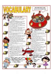 English Worksheet: RECYCLING VOCABULARY - TOPIC: THE UNIVERSE AND SPACE EXPLORATION Elementary and up.