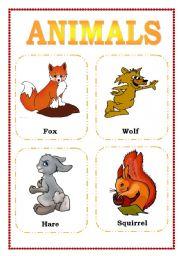 English Worksheets: flashcards animals (part three)