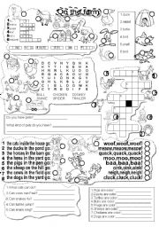 English Worksheets: FARM ANIMALS ACTIVITIES