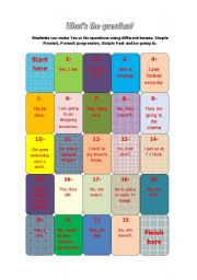 English Worksheets: What�s the question? Board game.