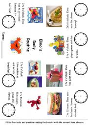 English Worksheet: Editable Time and Daily Routines with Elmo Minibook #1 - Readings and fillin clocks