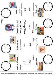 English Worksheets: Editable Time and Daily Routines with Elmo Minibook #2 of 3