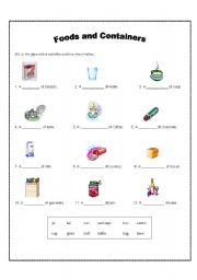 English worksheet: Foods and Containers