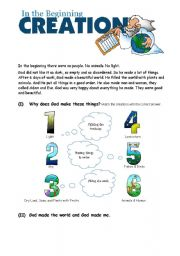 English Worksheets: The Creation