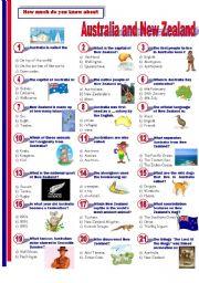 English Worksheet: Australia and New Zealand