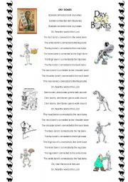 English Worksheets: DRY BONES - SONG
