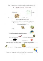 English Worksheet: autumn rebus & other activities