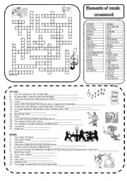 Elements of music crossword - ESL worksheet by marta v