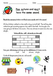 English worksheets: Phonics - all and -al words