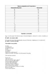 English Worksheet: Temperature / Weather