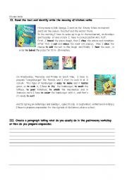 English Worksheet: kitchen Verbs / prepositions of time in ,at,on,  with bob sponge