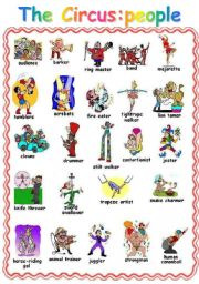 English Worksheet: AT THE CIRCUS:2  PAGE PICTIONARY PEOPLE OBJECTS WE SEE