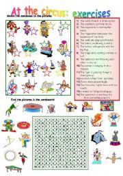 English Worksheet: AT THE CIRCUS EXERCISES