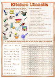 English Worksheet: Match & Find - Kitchen Utensils