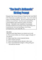 English Worksheets: The Devil�s Arithmetic -- Writing Prompt