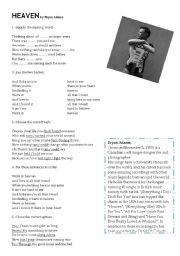 English Worksheet: Song: HEAVEN by Bryan Adams