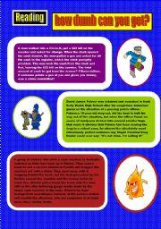 English Worksheets: READING COMPREHENSION ( DUMB CRIMINALS) 2 PAGES (30 MIN)