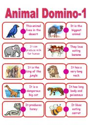English Worksheets: Animal Domino