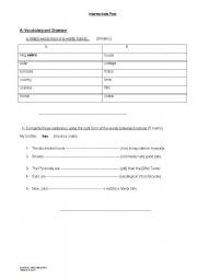 English worksheet: Intermediate Test