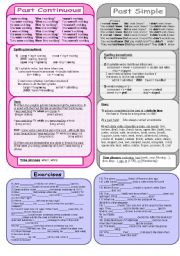 English Worksheet: Past Continuous and Simple rules + exercises, plus B&W version