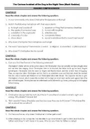 English Worksheets: The Curious Incident of the Dog in the Nightime
